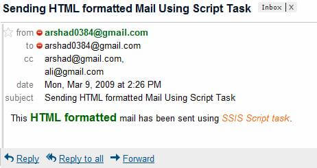 ssis send email html format