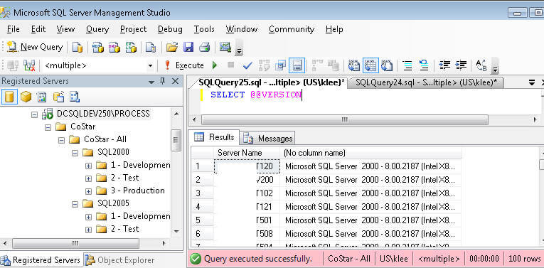 Execute SQL Server query on multiple servers at the same time