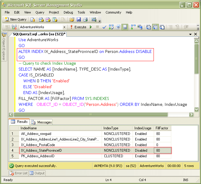 how to set index in sql server 2008