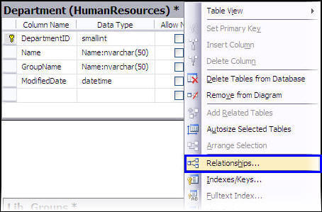 Getting started with sql server database diagrams we have to create a primary and foreign key relationship among libgroups and department tables respectively so right click on the department table and ccuart Image collections