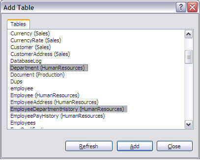 Getting started with sql server database diagrams select single or multiple tables that are required to be added in the diagram and click the add button ccuart Choice Image