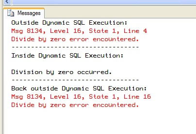 Dynamic SQL as a separate batch