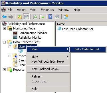 Starting Data Collector Set Wizard