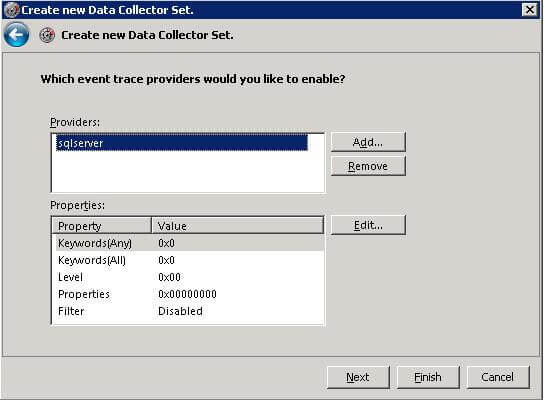 Choosing event trace providers