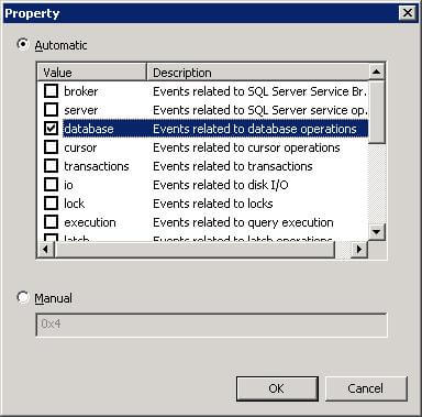 Selecting database operation events