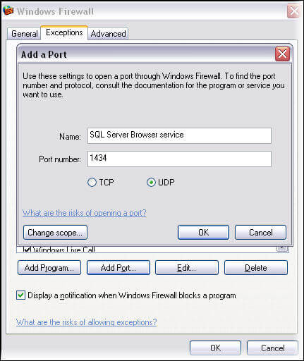 Add SQL Server browser service in Windows firewall exception list