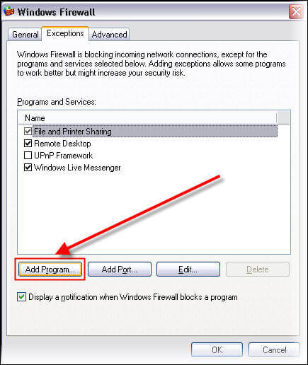 Add sqlservr exe file in exception list