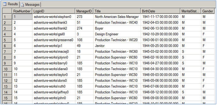 Sql server ranking functions row_number and rank.