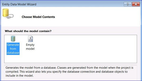 Adding an ADO.NET Entity Data Model to your project