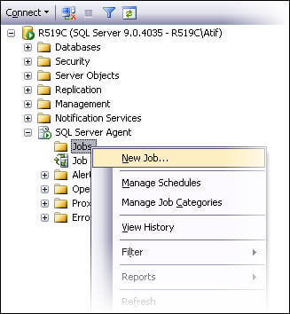 verify that SQL Server Agent service is running. Go to SQL Server Agent in SSMS