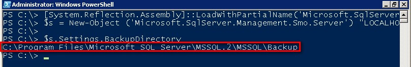 Find the SQL Server backup directory path in PowerShell