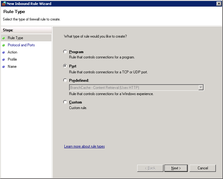 select Port option as shown in the below snippet to control connections for a TCP or UDP Port