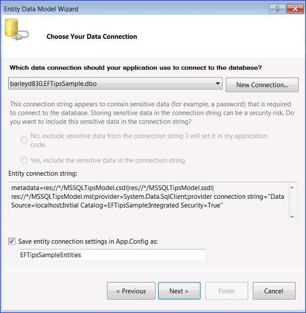 select an existing database connection or click New Connection to create one