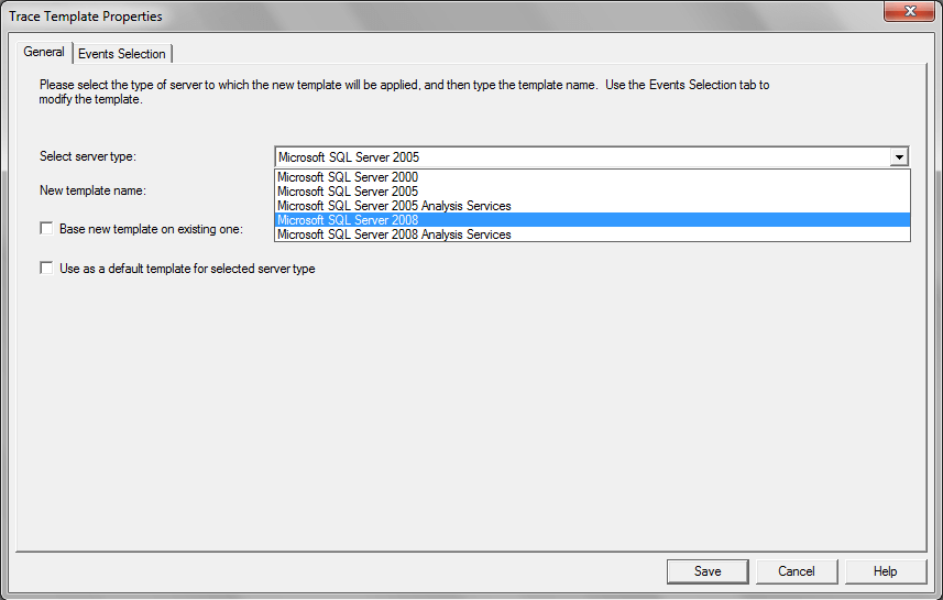 the server type available in the drop down list depends on the SQL Server version installed
