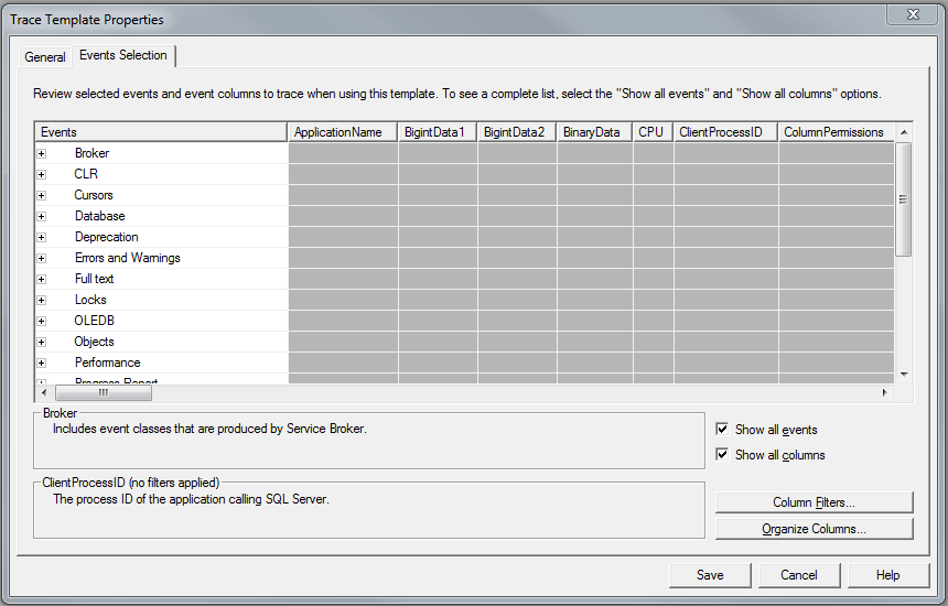 "continue creating the template, choose the ""Events Selection"" tab on top left of the dialog box"