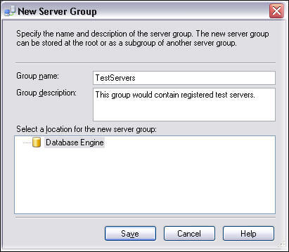 create a server group right click on the Database Engine folder in SSMS 2005 or Local Server Groups folder in SSMS 2008