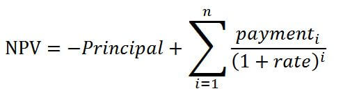 The formula for the NPV of a loan looks like this