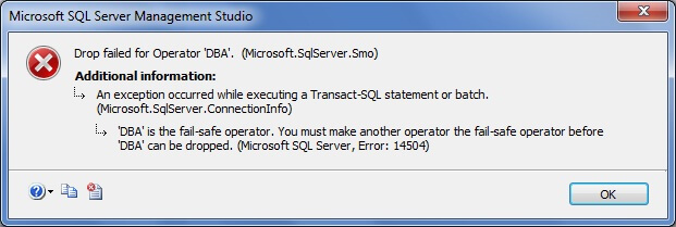 you cannot delete that operator until you remove the fail-safe operator from SQL Server Agent or assign another operator