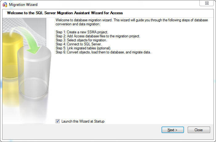 Click the Refresh License button after doing so and you'll finally be provided with the Migration Wizard within the SSMA