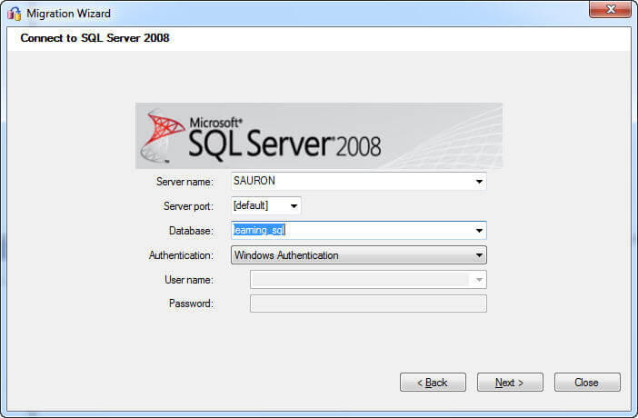 You're now about to create your first SQL Server database and it only requires a few bits of information