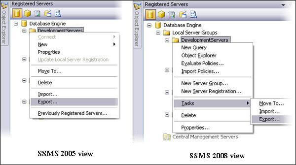Note: the right click menu may be slightly different in SSMS 2008 and SSMS 2005 as shown below.