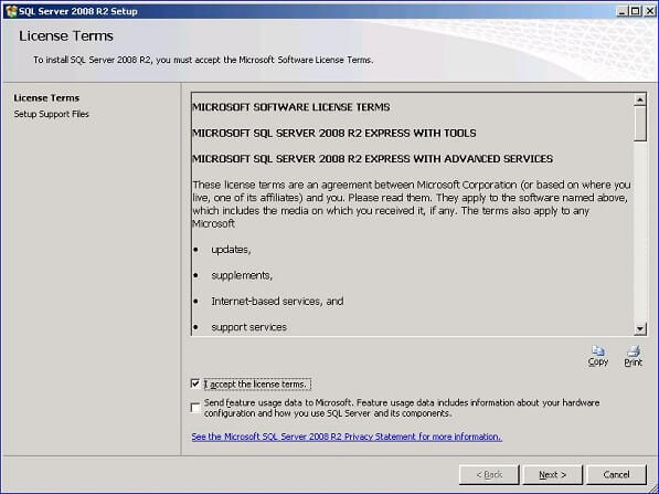 Let's walk through the installation of the SQL Server Express 2008 R2 with Advanced Services since it has the most features.