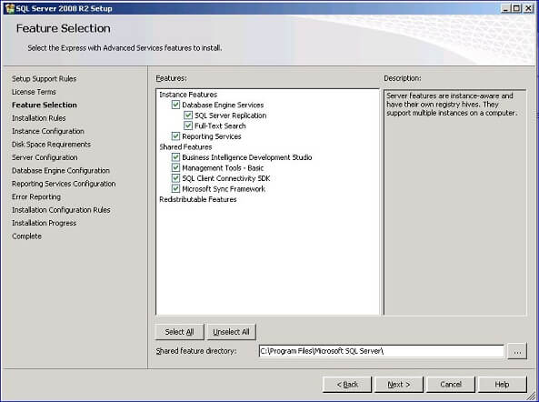 Click the I accept the license terms checkbox then you'll see the Feature Selection dialog