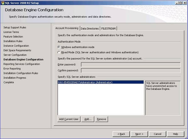 click Next to continue on to the Database Engine Configuration dialog