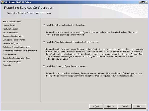 click Next to continue on to the Reporting Services Configuration dialog