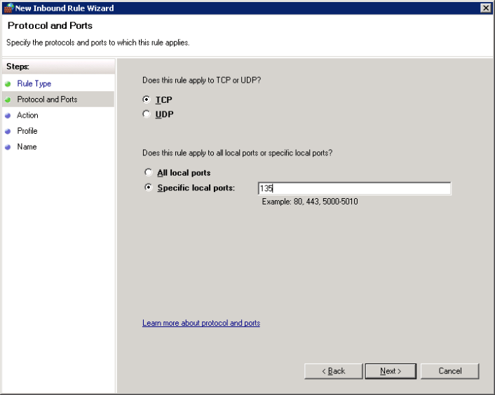 SQL Server Integration Service when installed uses TCP Port 135 as the default port, hence you need to choose TCP option and then specify the port