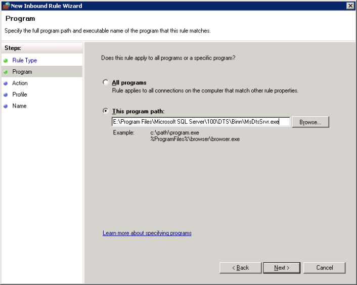 specify the program path of MsDtsSrvr.exe file