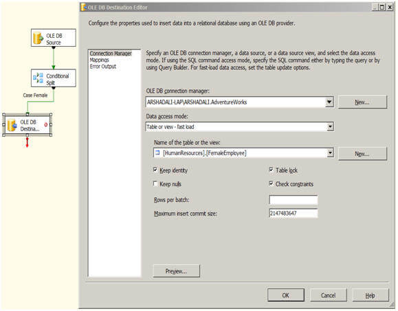 repeat the same process for another OLE DB Destination configuration