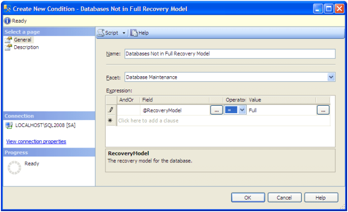 "provide the name of the condition as ""Databases Not in Full Recovery Model"""