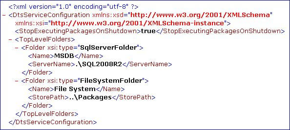 we would like to see two MSDB nodes - one for SSIS packages stored in the MSDB database of the default SQL Server instance and a second one for SSIS packages stored in the MSDB database of the named SQL Server instance
