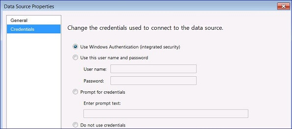 Click on Credentials and fill in the dialog