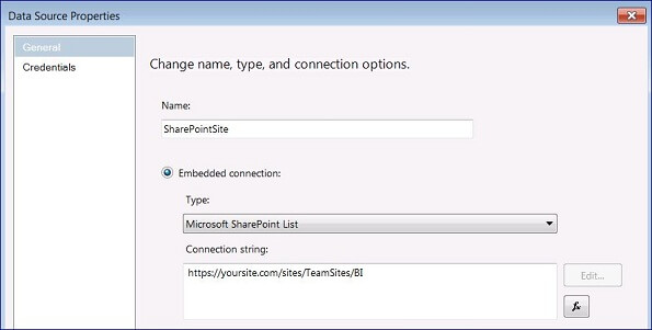 the Data Source Connection String property must be set to the URL of the SharePoint site or the subsite