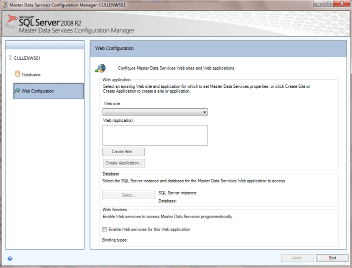 The setup of the application in the Configuration Manager is similar to setting up a virtual directory and application in Internet Information Services