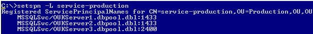 register the SPN using the below DOS command