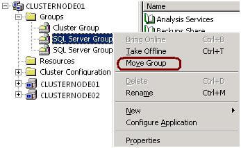 check the status of the cluster resources using this DOS command