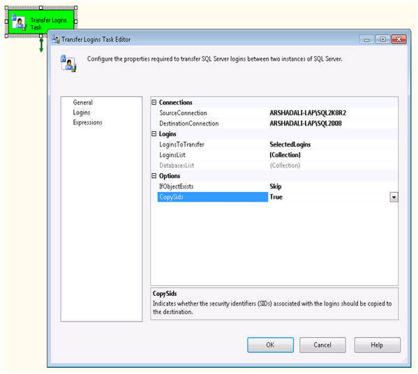 Create another package in the current project and drag a Transfer Logins Task from the Toolbox to the Control Flow