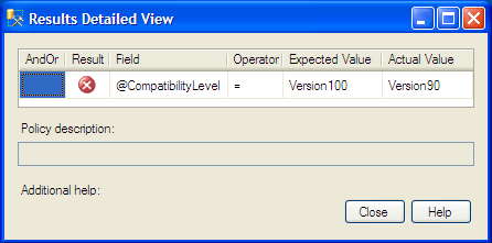 the current compatibility level for the database was Version90 which is that of SQL Server 2005