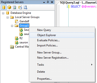 we can create a subgroup (and a subgroup of a subgroup and so-forth) in the Registered Servers Explorer
