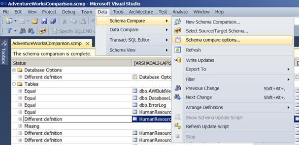 SQL Schema Comparison with Visual Studio 2010