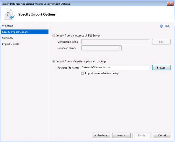 select Import Data-tier Application and navigate to the DAC package