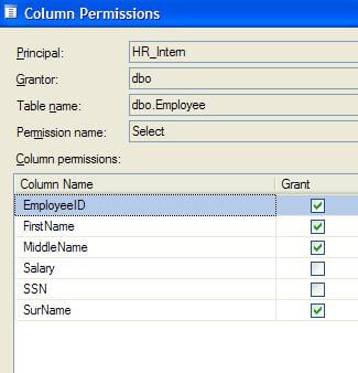 the button for Column Permissions activates