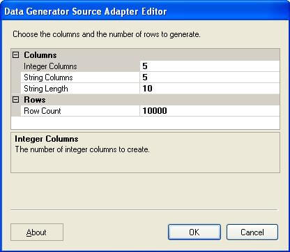 Konesans Data Generator Source Adapter which is freeware, available from SQLIS.com