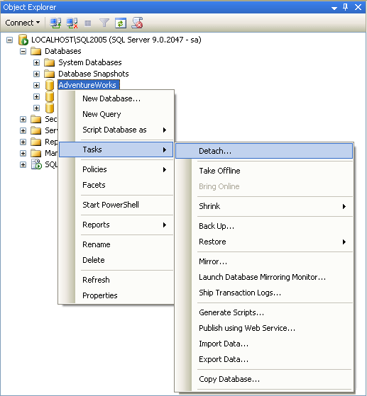 Detaching a Database Using SQL Server Management Studio