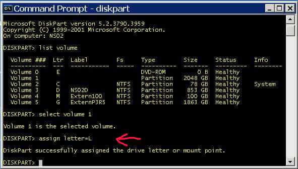 Next assign a drive letter to the volume with DISKPART. DISKPART's ...