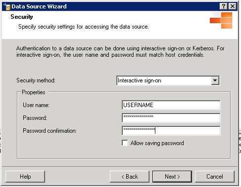 enter the DB2 user that will be used to impersonate our SQL User