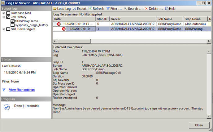 a SQL Server Agent job to execute a SSIS package, it failed with the message Non-SysAdmins have been denied permission to run DTS Execution job steps without a proxy account.;